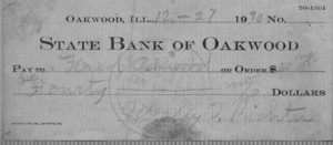 $40 paid to Floyd Oakwood by Wesley Richter 12/27/1930