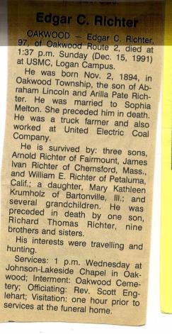 Edgar Richter Obituary
