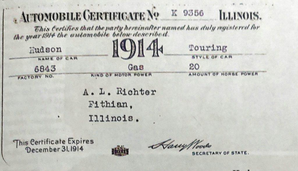 Automobile Certificate 1914
