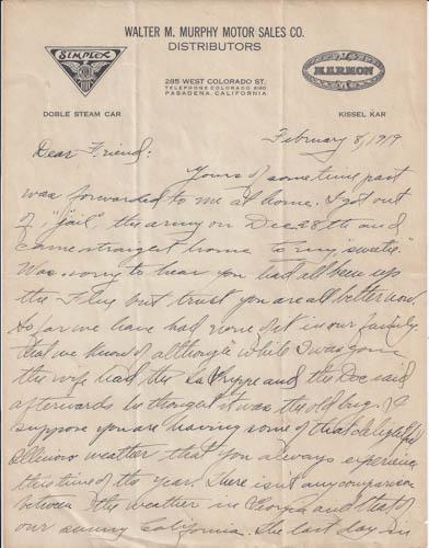 Murphy Motor Company Letter